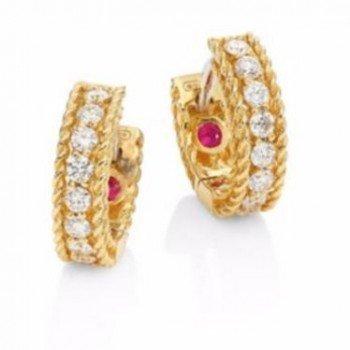 Roberto Coin Ladies White Rose Yellow Gold Diamonds Luxury Earrings