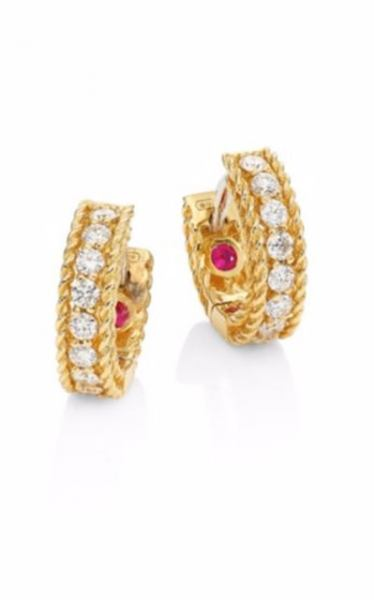 Roberto Coin Ladies White Rose Yellow Gold Diamonds Luxury Earrings