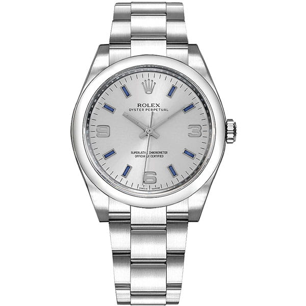 Rolex Oyster Perpetual 114200-SLVBASO 34 mm Womens Watch front view @majordor