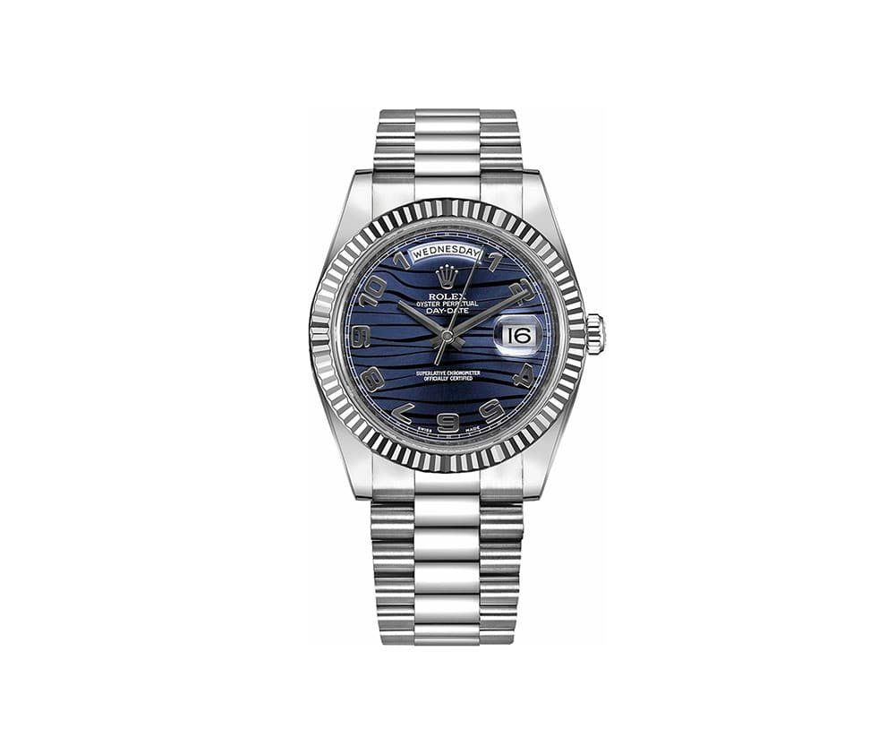 Rolex Day Date Ii 218239 Bluwap Blue Dial White Gold Watch