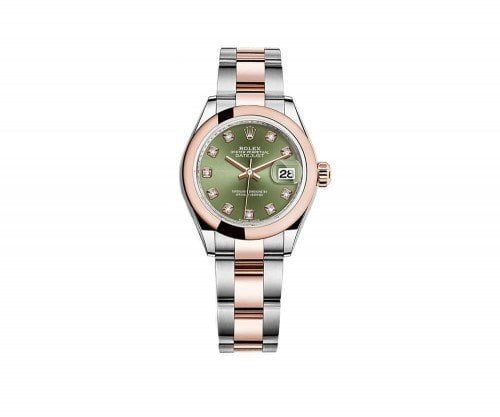 Rolex 279161 grndo Datejust 28mm Olive Green Dial Watch