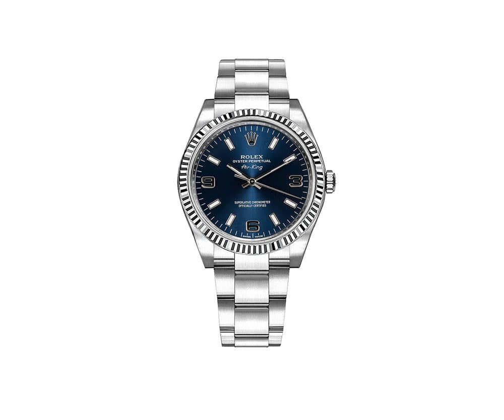 114234 bluaso Rolex Air-King Oyster Perpetual Blue Dial Women Watch