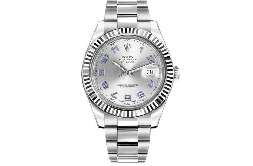 Rolex Datejust Ii 116334 Slvao 41mm White Gold Bezel Mens Watch