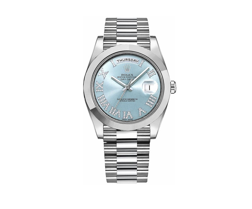 Rolex Day Date Ii 218206 Bludrsp Diamonds Platinum Watch