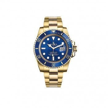 Rolex Submariner 116618LB Date Yellow Gold Blue Dial Mens Watch