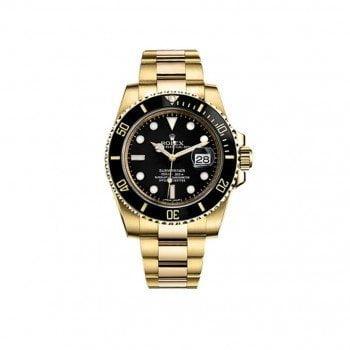 116618-BLK Rolex Submariner Date Gold Case Mens Luxury Watch
