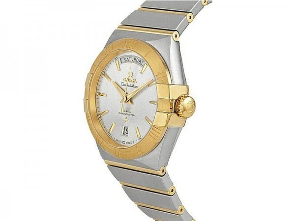 Omega Constellation 123.20.38.22.02.002 Automatic Day-Date Watch Caliber 8602 side view