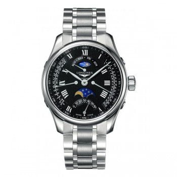 Longines Master Collection L2.739.4.51.6 Moon Phase 44mm Mens Watch front view @majordor #majordor