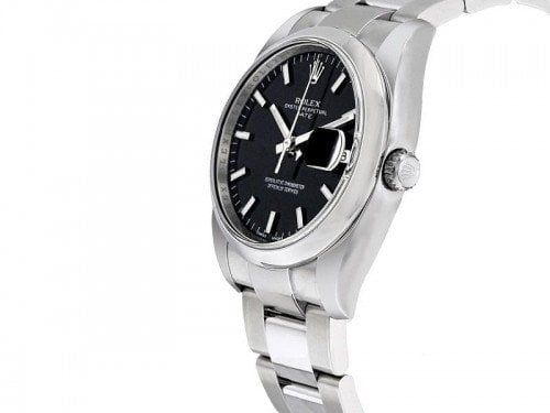 115200 Rolex Oyster Perpetual Date 34 Black Dial Lady Watch blkso side view