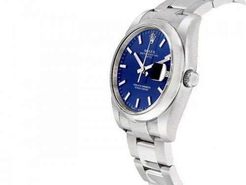 115200 Rolex Oyster Perpetual Date 34 Blue Dial Lady Watch bluso caliber 3135 side view