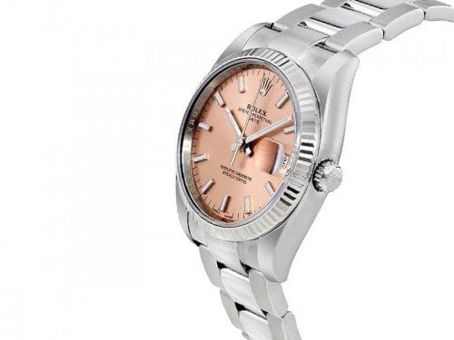 115200 Rolex Oyster Perpetual Date 34 Pink Dial Lady Watch pnkso side view
