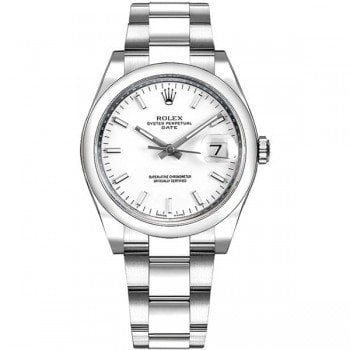 115200 Rolex Oyster Perpetual Date 34 White Dial Lady Watch whtso caliber 3135