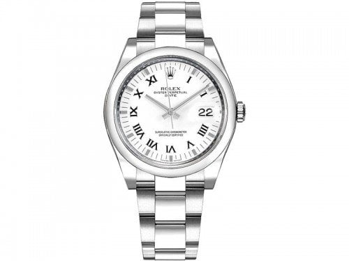 Rolex 115200 whtrso Datejust 34mm White Dial Watch
