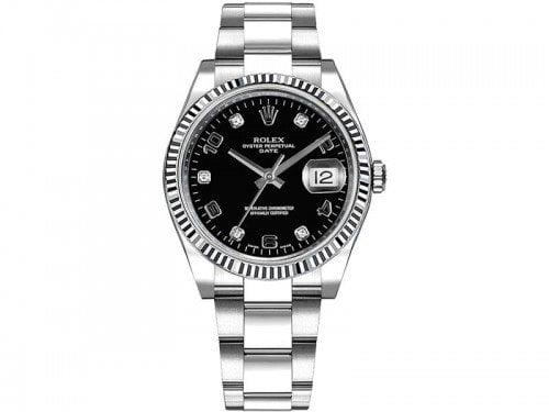 115234 Rolex Date blkdfo Oyster Perpetual 34 Black Dial Lady Watch Diamonds caliber 3135 @majordor #majordor