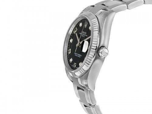115234 Rolex Date blkdfo Oyster Perpetual 34 Black Dial Lady Watch Diamonds caliber 3135