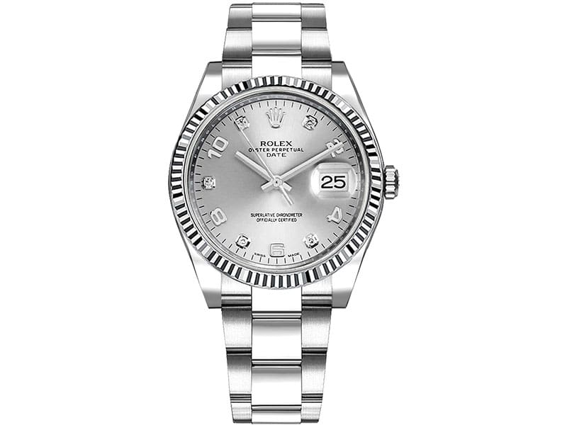 115234 Rolex Date slvdao Oyster Perpetual 34 Black Dial Lady Watch Diamonds on dial caliber 3135