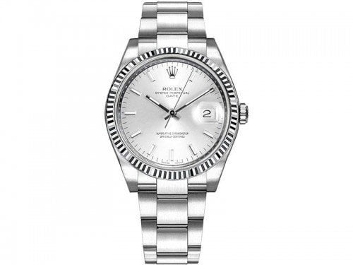 115234 Rolex Date slvso Oyster Perpetual 34 Silver Dial Lady Watch caliber 3135 @majordor #majordor