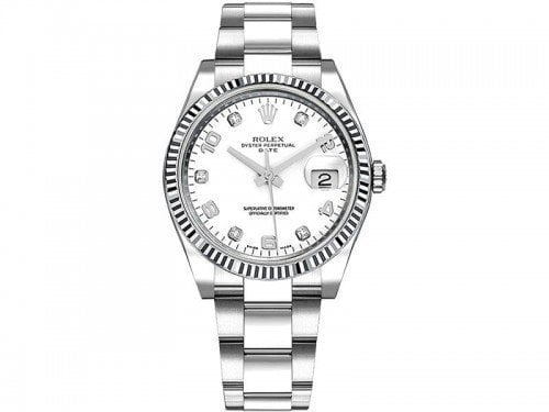 Rolex 115234 whtdao Datejust 34mm White Dial Watch