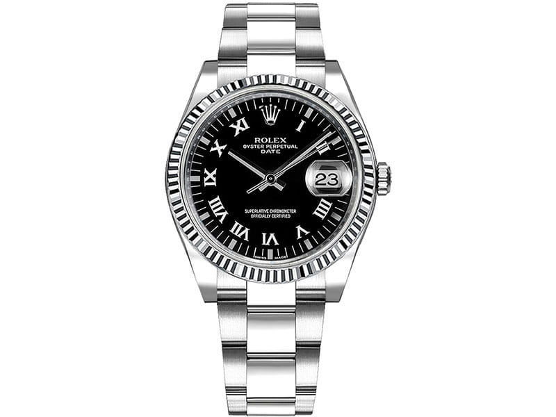 115234 Blkrso Rolex Date Oyster Perpetual 34 Black Dial Lady Watch