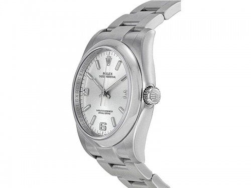 Rolex 116000 SLVASO Oyster Perpetual 36 Silver Dial Ladies Watch caliber 3130 side view