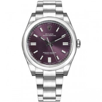 Rolex 116000 rdgso Oyster Perpetual 36 Grape Red Dial Ladies Watch