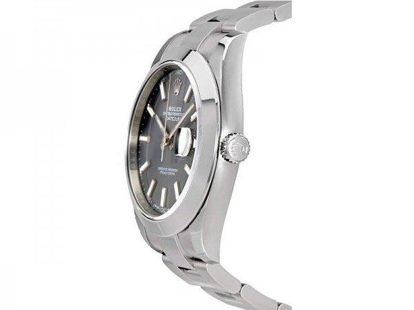 Rolex Datejust 126300 rhoso 41 Grey Dial Oyster Steel Bracelet Watch side view