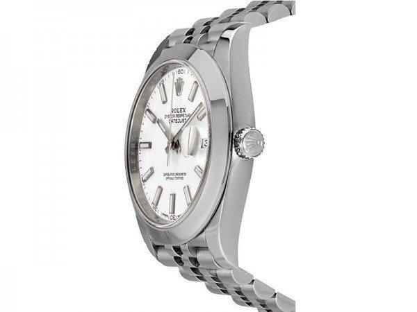 Rolex Datejust 126300 whtsj 41 White Dial Jubilee Steel Bracelet Watch side view