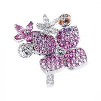 Van Cleef and Arpels Melia Pink Sapphire Diamond Floral Motif Ring