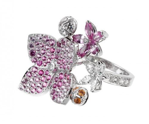 Van Cleef and Arpels Melia Pink Sapphire Diamond Floral Motif Ring