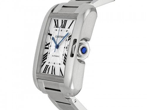 Cartier Tank Anglaise W5310008 Extra Large Steel Mens Luxury Watch Caliber 1904 MC side view @majordor #majordor