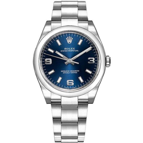 Rolex Oyster Perpetual 114200-BLUASO 34 mm Blue Dial Womens Watch @majordor