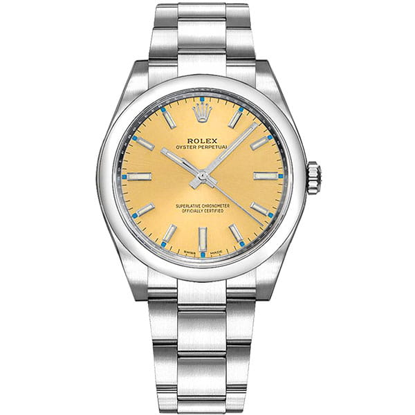 Rolex Oyster Perpetual 114200-CHPSDO 34 mm Champagne Dial Watch