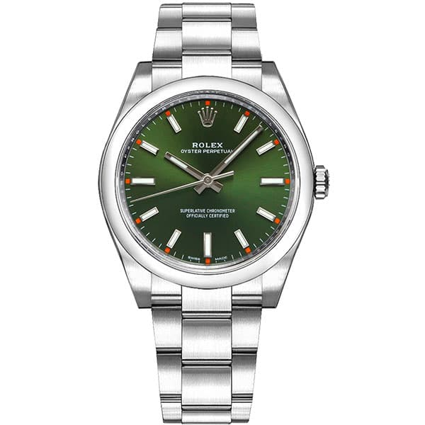 Rolex Oyster Perpetual 114200-OLGSO 34 mm Green Dial Luxury Watch front view @majordor