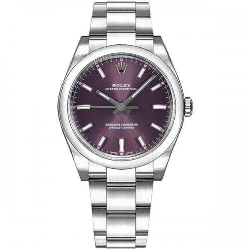Rolex Oyster Perpetual M114200 0020 34mm Grape Red Dial Watch