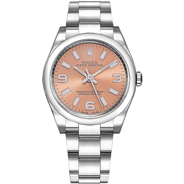 Rolex Oyster Perpetual M114200 PNKASO 34 mm Pink Dial Ladies Watch front side view @majordor