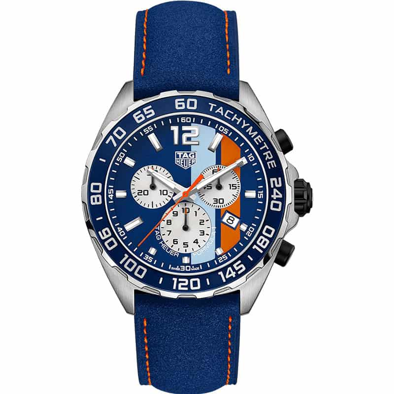 Tag Heuer CAZ101N.FC8243 Formula 1 Gulf Racing Limited Edition Watch front view @majordor