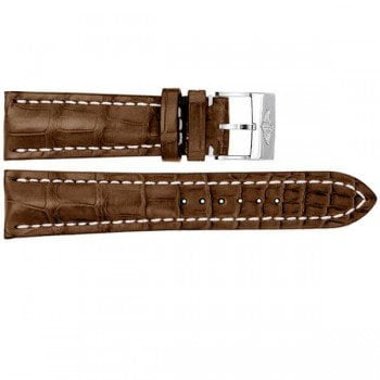 New BIG CROCO 20mm LEATHER STRAP Tang Buckle Band Beige Stitch Black Superocean