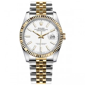 M126233-0019 Rolex Datejust 126233 WHTSJ 36mm Yellow Rolesor Ladies Watch
