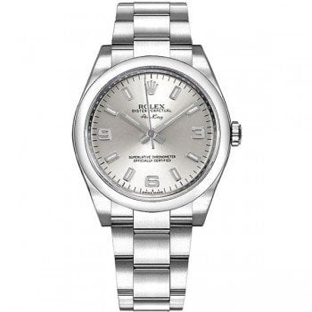 Rolex Oyster Perpetual 114200 slvsaso 34mm Silver Dial Womens Watch